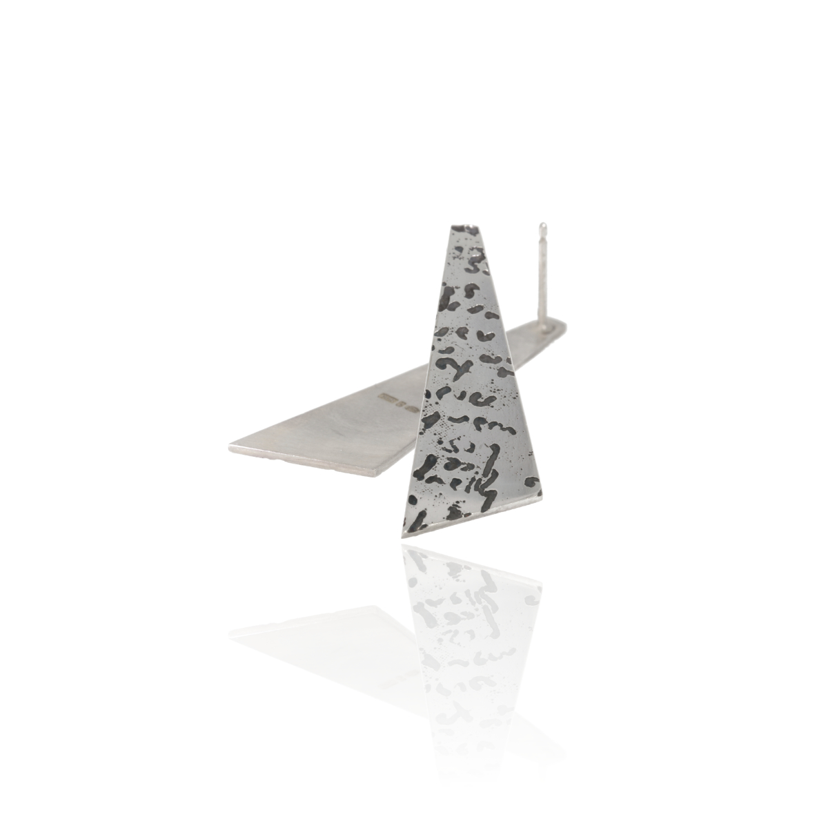 Silver angular drop earrings with etched and oxidised handwriting