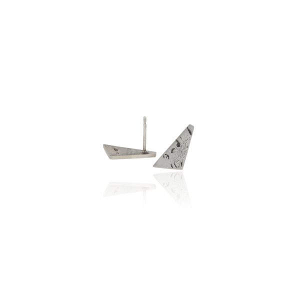 Silver angular stud earrings with etched and oxidised handwriting