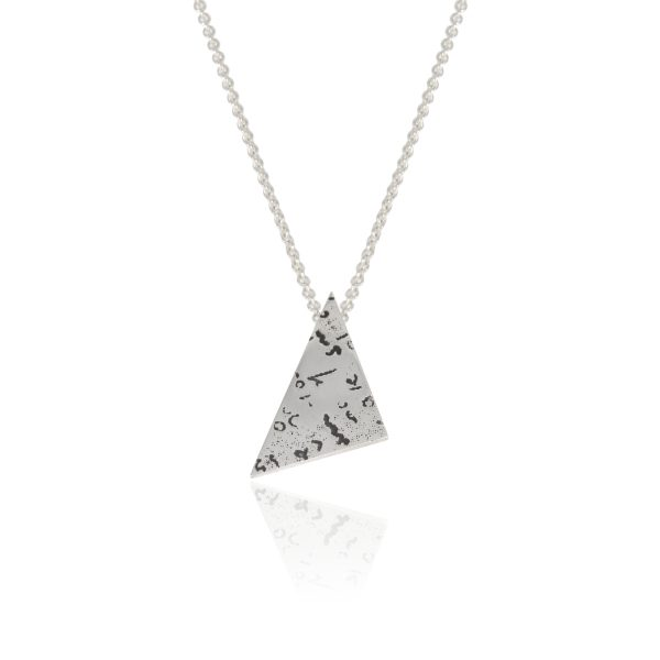 Silver angular pendant with etched and oxidised handwriting